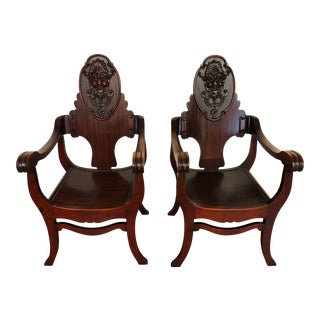 Vintage Carved North Wind Mahogany Arm Chairs - a Pair For Sale
