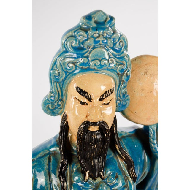 Blue Chinese Ming Dynasty Style Male and Female Porcelain Statues - a Pair For Sale - Image 8 of 13