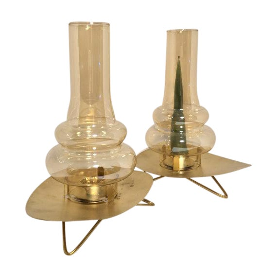 Mid-Century Glass Chimney Candle Holders - A Pair - Image 1 of 6