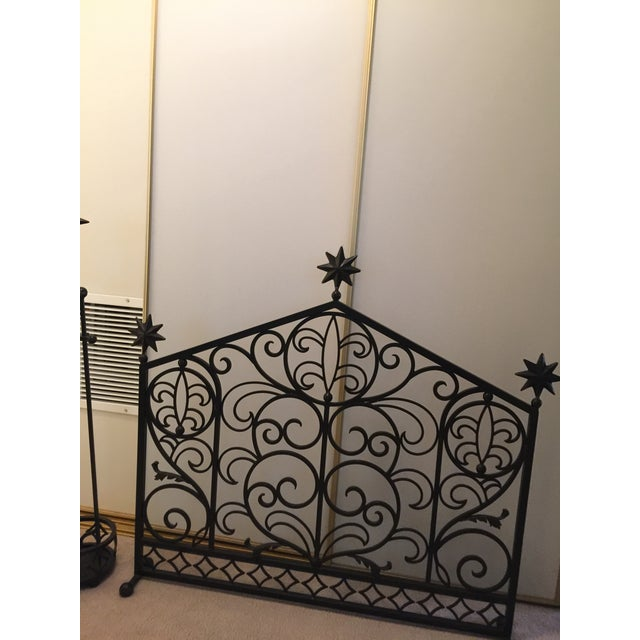 Iron Fireplace Screen & Utensil Set For Sale - Image 4 of 12