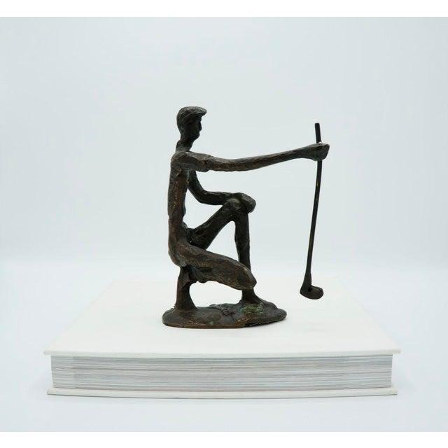 Vintage Bronze Golfer on the Green Sculpture For Sale - Image 6 of 9