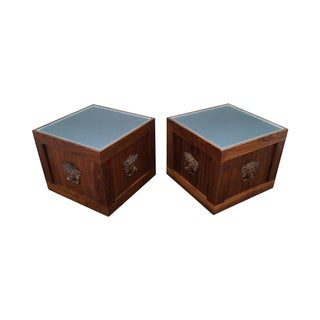 Solid Walnut Cube End Tables - A Pair