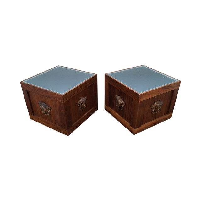 Solid Walnut Cube End Tables - A Pair For Sale