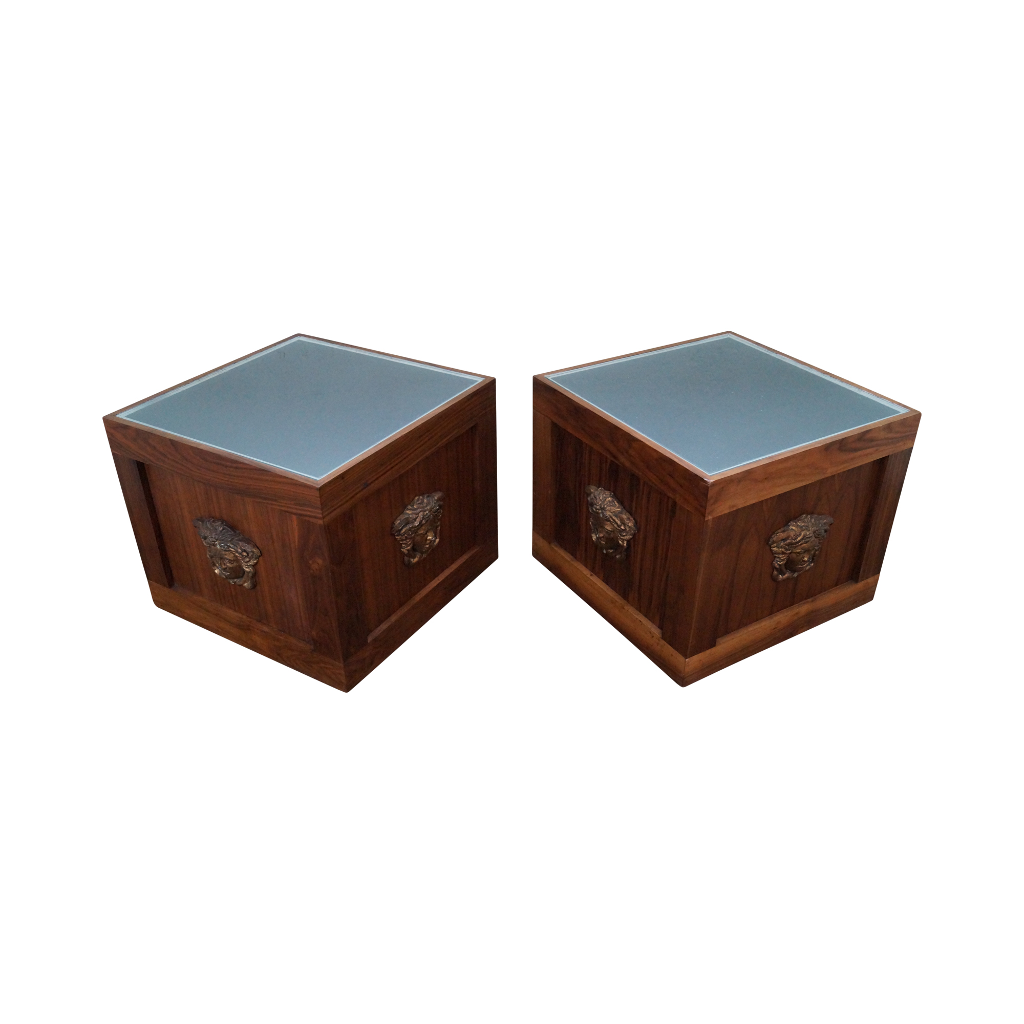 Solid Walnut Cube End Tables   A Pair