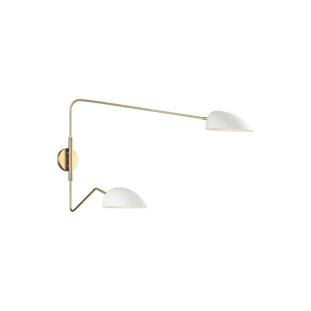 Jane Double Task Sconce Matte White For Sale - Image 4 of 5