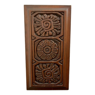Mid-Century Carved Redwood Panel For Sale