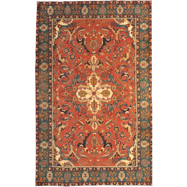 """Pasargad NY Antique Persian Tabriz Lamb's Wool Rug - 8'3"""" x 10'11"""" For Sale"""