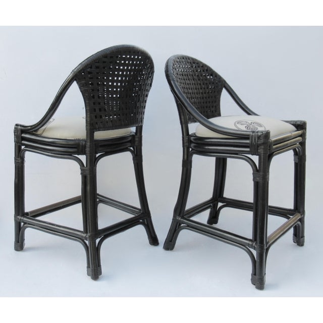 Palecek C.1996 Palecek Black Leather Strapped Rattan Counter Stools - a Pair For Sale - Image 4 of 12
