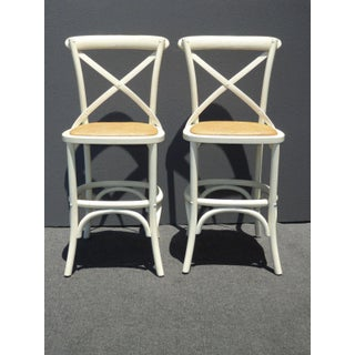 Vintage French Country White Rye Seat Bar Stools - A Pair Preview