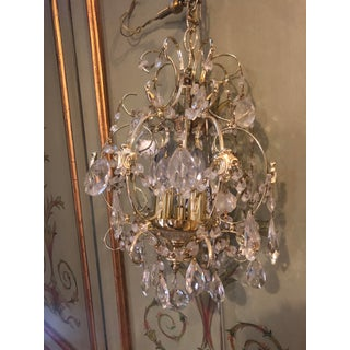 Small Hollywood Regency Style Crystal Brass Chandelier Preview