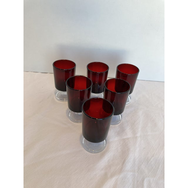 Vintage Luminarc Arcoroc of France Cavalier Ruby Red Glasses With Clear Crystal Stems - Set of 6 For Sale In New York - Image 6 of 6