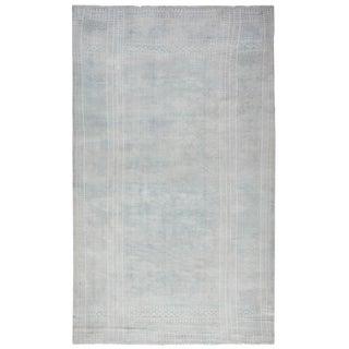 Antique Blue-White Indian Cotton Flat-Weave Carpet For Sale