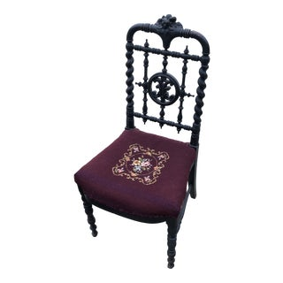 Antique Hand Embroidered Chair** For Sale