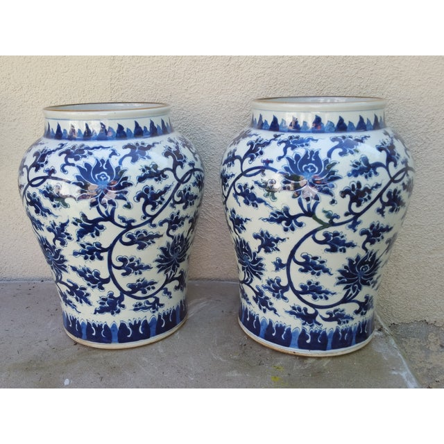 Hand-Painted Chinoiserie Urns- A Pair - Image 2 of 5