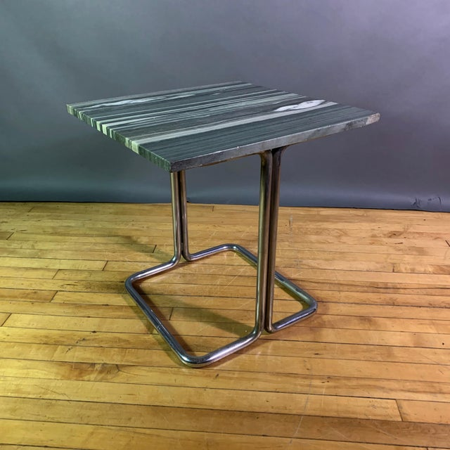 Wolfgang Hoffman (Attr) 1930s Tubular Chrome & Marble Table For Sale - Image 11 of 11