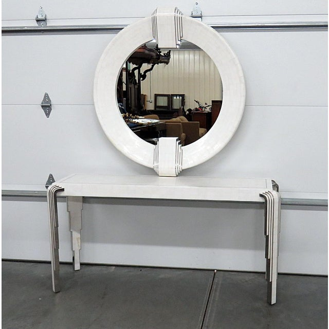 Silver Tavola by Oggetti Art Deco Style Tessellated Console and Mirror For Sale - Image 8 of 8