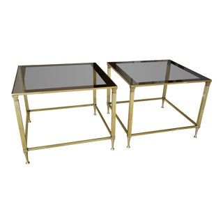1960s Mid-Century Modern Maison Jansen Brass Side Tables - a Pair