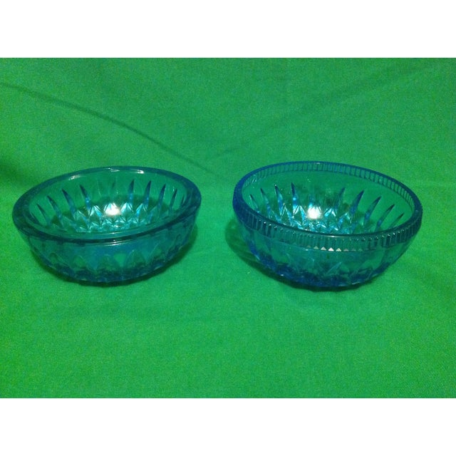Cottage Blue Glass Spherical Candle Holder For Sale - Image 3 of 3