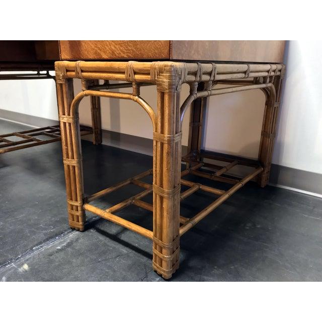 Vintage Refurbished Henredon Bamboo Rattan Double Pedestal Desk For Sale - Image 10 of 13