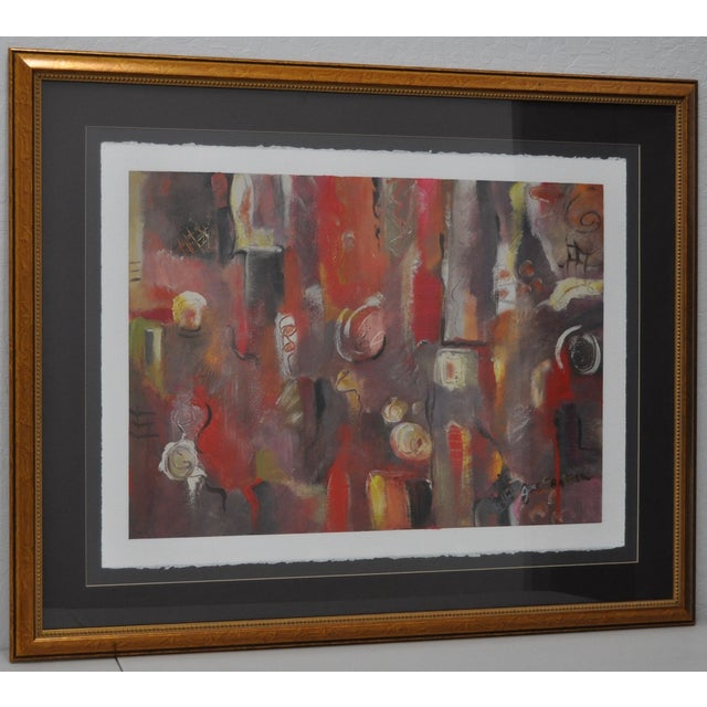 Contemporary Framed Abstract Oil on Paper - Image 2 of 8