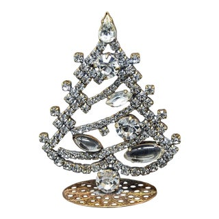 1960's Small Czech Jeweled Table Top Mantle Christmas Tree For Sale