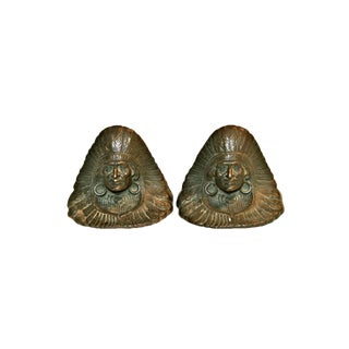 Native American Chief 1920s Judd Bookends, Pair
