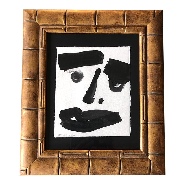 Original Contemporary Robert Cooke Abstract Face Painting Ornate Frame For Sale