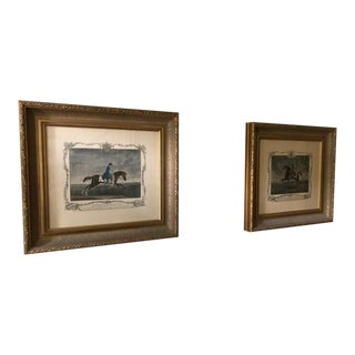 Late 20th Century Henredon Acquisitions Bold Gilded Wood Framed Soldier Art Prints - a Pair For Sale