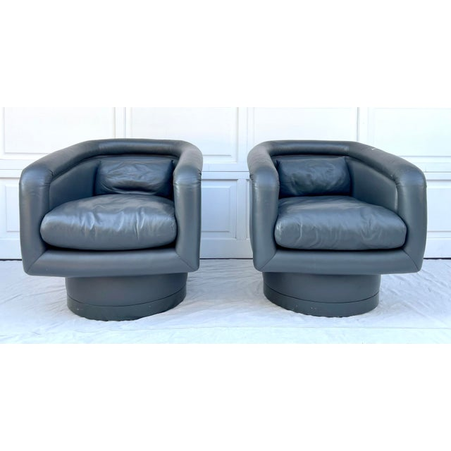 Postmodern Leon Rosen Style Swivel Tub Chairs - a Pair For Sale In Los Angeles - Image 6 of 13