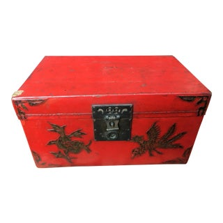 Antique Chinese Red Lacquer Box For Sale