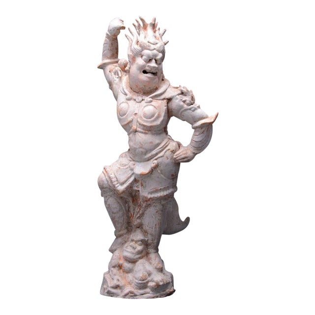 T'ang Painted Terracotta Sculpture of a Lokapala For Sale