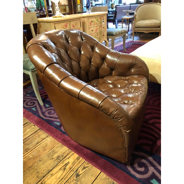 1970s Mid-Century Modern Tufted Leather Swivel Club Chairs - a Pair For Sale In Philadelphia - Image 6 of 11