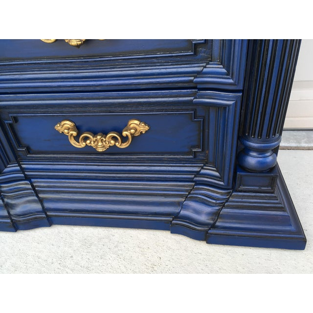 Hand Painted Navy Blue Dresser For Sale - Image 6 of 8