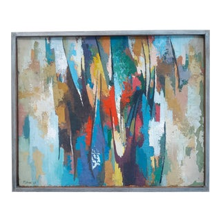 1960s Abstract Expressionist Oil Painting Signed and Dated, Framed For Sale