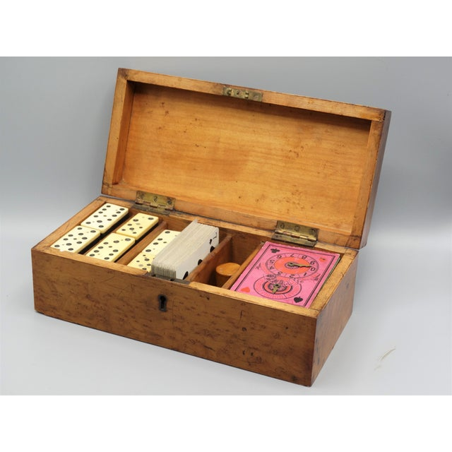 Red Antique Birds Eye Maple Games Box & Contents For Sale - Image 8 of 9