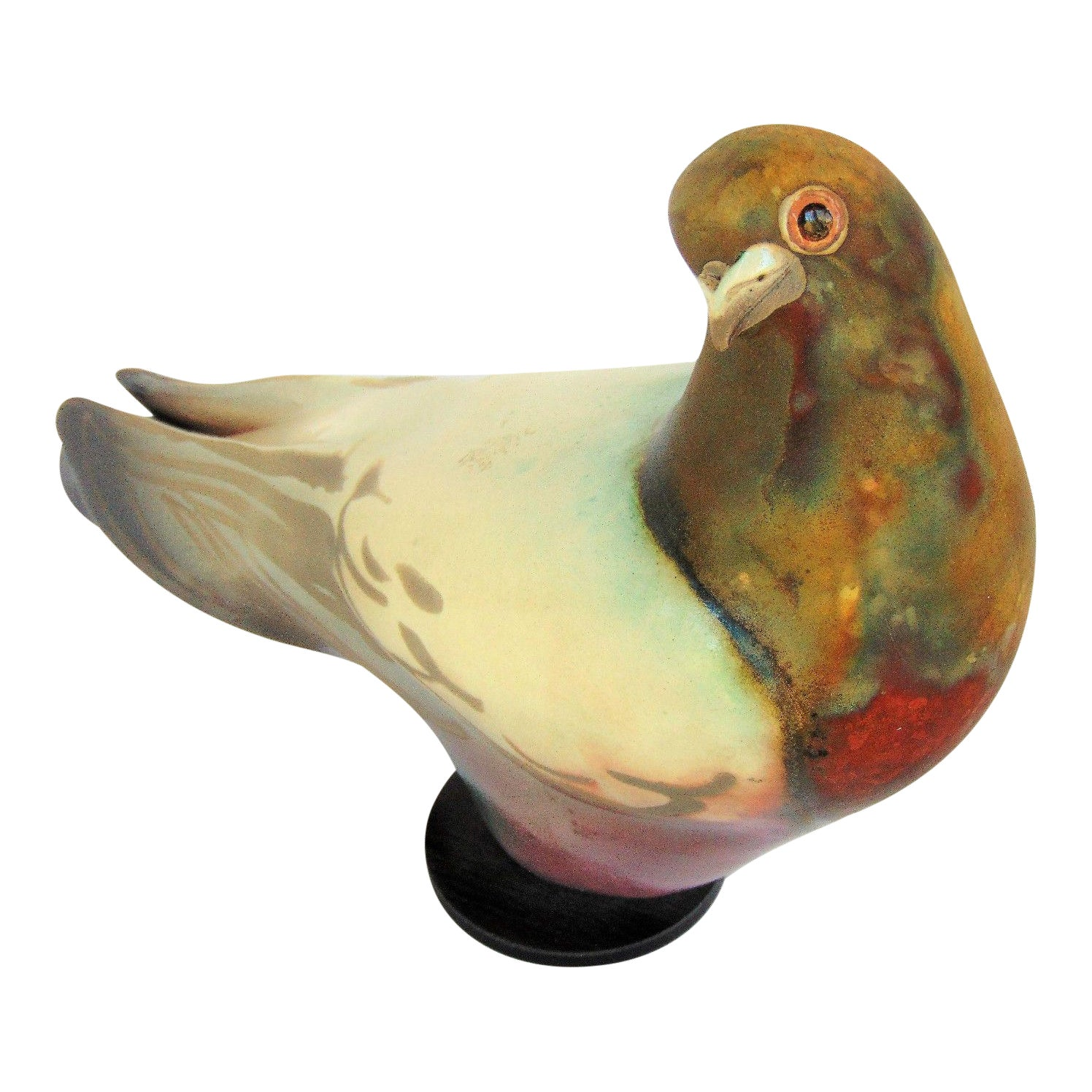 Glo Coalson Raku Pigeon Sculpture | Chairish