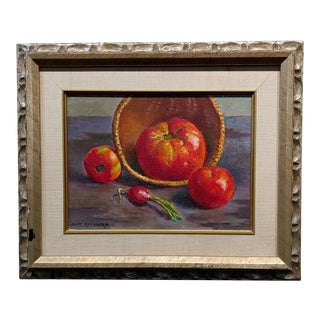 Jack Richard -Still Life of Three Tomatoes and a Radish -Oil Painting For Sale