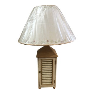 Wooden Base Table Lamp With Storage For Sale