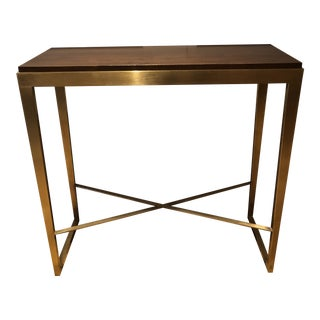 Mid-Century Modern Brass and Walnut Console Table For Sale