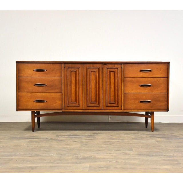 Broyhill Sculptra Walnut Long Dresser For Sale - Image 11 of 11