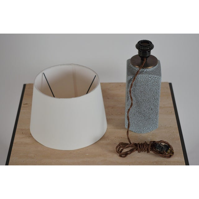 Art Deco Shagreen Glaze Ceramic Lamp With Parchment Shade For Sale - Image 10 of 11