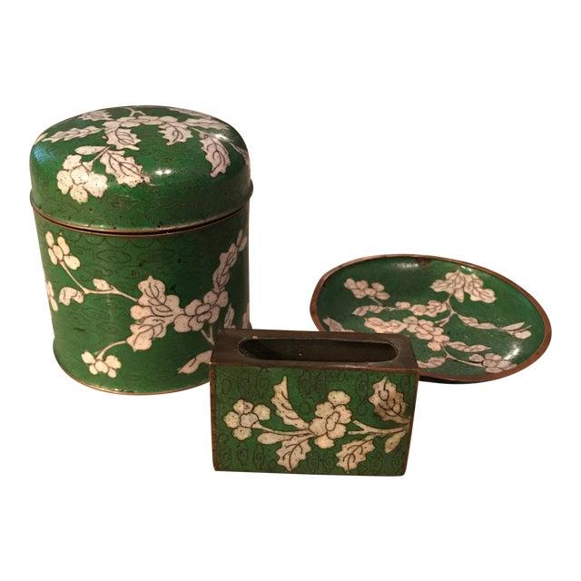 Cloisonne Jar, Matchbook Case, & Tray - Image 1 of 11
