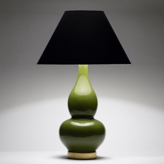 Ceramic Casa Cosima Double Gourd Table Lamp, Olive Craquelure/Black Shade, a Pair For Sale - Image 7 of 8