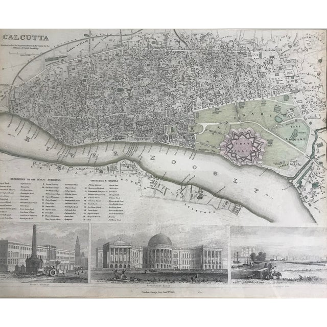 COX 19th. Century Antique Map of Calcutta, India With Fort William 1852 by the Society for the Diffusion of Useful Knowledge For Sale - Image 4 of 13