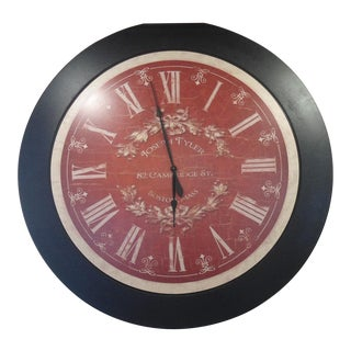 Oversized Joseph Tyler Red Wall Clock With Black Border