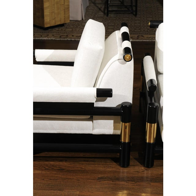 White Breathtaking Pair of Modern Floating Pagoda Club Chairs by Baker, Circa 1980 For Sale - Image 8 of 13