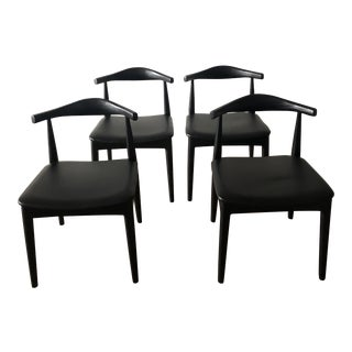 Modern Mid-Century Black Dining Chairs - Set of 4 For Sale
