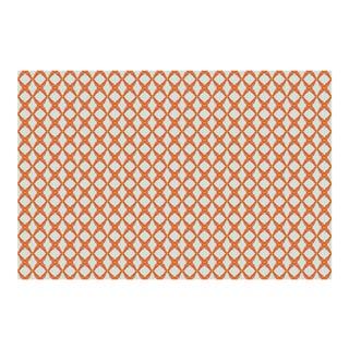 Fern Trellis Morning Mist/Deep Orange Linen Cotton Fabric, 3 Yards For Sale