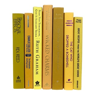 Modern Yellow Decorative Books - Set of 7 For Sale