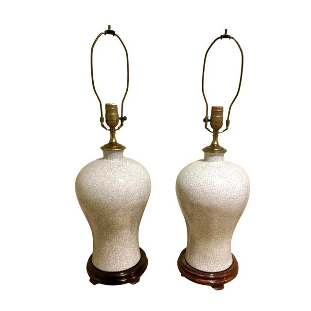 Off-white Chinoiserie Crackle Vase Table Lamps -- a Pair For Sale - Image 8 of 8